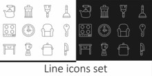Set Line Knife, House Key, Paint Brush, Clock, Gas Stove, Kettle With Handle, Armchair And Trash Can Icon. Vector