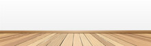 Realistic Light Wood Floor And White Wall, Background For Presentation - Vector