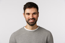 Motivated Cheerful And Glad, Pleasant Caucasian Adult Bearded Man In Grey Sweater, Smiling With Delighted Expression, Looking Excited And Satisfied, Nod Agreement, Give Approval, White Background