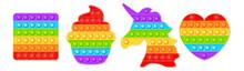 Popit Fidget Toy.Pop It Sensory Vector Toy. 3d Realistic Antistress Fidgeting Toy Rainbow Popular Popit Shaped As Unicorn, Heart, Funny CupcaKe, And Square. Bubble Pop It Fidget Vector.