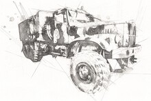 Armored Vehicle Technical Military Truck Art Illustration Isolated Sketch