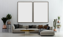 Modern Cozy Living Room And White Wall Texture Background And Empty Canvas Frame Interior Design. 3D Rendering