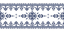 Zmijanje Cross Stitch Style Vector Folk Art Seamless Lonng Horizontal Pattern - Textile Or Fabric Print Design Inspired By Old Patterns From Bosnia And Herzegovina