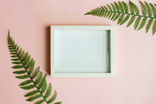 A White Photo Frame With  Ferns Over The Pink Background.