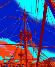 Masts Of A Sailing Ship Against The Background Of The Blue Sky And The City. Stylization In Blue And Red Colors. Illustration. Background With A Sailboat.