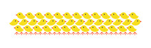 Big Bunch Of Cute Newly Hatched Chicks. Flat Vector Illustration Isolated On White.