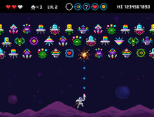 Pixel Art 8 Bit Space Arcade Game With Monsters, Ufo Aliens, Space Ships, Rockets. Vintage Style Colorful 8 Bit Computer Game. Pixelated Space Arcade Shooter Template Vector Illustration