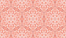 Beautiful Red Background. Geometric Ethnic Decoration. Vintage Decorative Element With Flowers Mandala. Rose Flower Is The Embodiment Of Feminine Strength, Beauty And Sexuality.