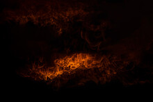 Sparks And Fire Particles,Flying Up Embers And Burning Cinder,Smoke,Fire Flames On A Black Background.
