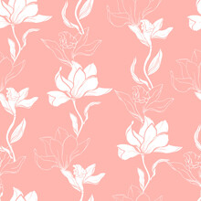 Floral Pink Pattern With White Flowers Of Lilies And Magnolia. Vector Floral Gentle Seamless Pattern For Fabric, Wallpaper And Paper For Decoration.