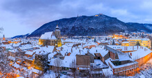 Brasov, Romania. Panoramic View Of The Old Town And Tampa Mountain In Winter Season.
