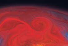 Red Abstract Background With Fractals, Textured Liquid Paint, Fluid Art, Planet, Outer Space, Sun