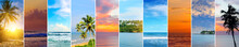 Tropical Beaches And Beautiful Sky. Collage.Wide Photo.