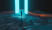 Woman, Girl Silhouette Walking, Standing In Mountain With Two Blue Glowing Pillars. Sci-fi Landscape, 3D Rendering