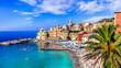 Leinwanddruck Bild - Most colorful coastal towns near Genova - beautiful Bogliasco village in Liguria with nice beach. Italy summer destinations