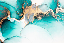 Ocean Blue Abstract Background Of Marble Liquid Ink Art Painting On Paper . Image Of Original Artwork Watercolor Alcohol Ink Paint On High Quality Paper Texture .
