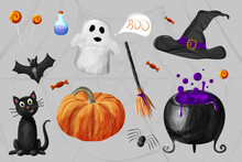 Autumn Holiday Halloween Set In Watecolor Style, Cute, Funny Animals