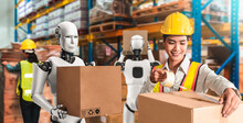 Innovative Industry Robot Working In Warehouse Together With Human Worker . Concept Of Artificial Intelligence For Industrial Revolution And Automation Manufacturing Process .