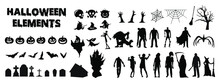 Big Set Of Halloween Silhouettes Black Icons And Characters. Collection Of Vector Illustrations. Isolated Elements On White Background. Horror Characters From Old Vintage Movies And Tv Shows.