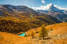 Stunning Autumn Scenery Of Famous Alp Peak Matterhorn From Sunnega Area. Swiss Alps, Valais, Switzerland