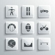 Set Skate Park, Longboard Or Skateboard, Bicycle, Rugby Ball, Helmet, Parachute, Bungee Jumping And Vintage Sport Racing Car Icon. Vector