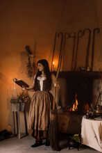 Witch Reading Book At Home