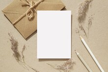 Letter, Notecard, Greeting Card, Postcard Mockup For Design Presentation, Envelopes, Pencils, Pampas Grass, Neutral Colors Flat Lay Composition With Blank Paper Sheet.