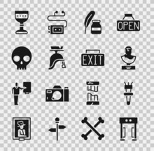 Set Metal Detector, Torch Flame, Ancient Bust Sculpture, Feather And Inkwell, Roman Army Helmet, Human Skull, Medieval Goblet And Exit Sign Icon. Vector