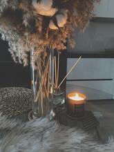 Interior Design In The Loft Style. Stylish Decor. Candles.