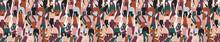 Seamless Pattern Con Una Folla Di Persone Che Parlano E Interagiscono Tra Di Loro