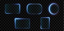 Collection Of Futuristic Hud Light Blue Frame. Technological Background. Light Glass Blue Frames Square, Oval, Rectangle, Circle. HUD PNG. Vector Illustration.
