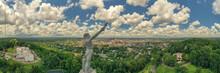 Aerial View Of Vulcan Statue Overlooking Downtown Birmingham, AL