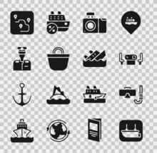 Set Lifeboat, Diving Mask And Snorkel, Poker Table, Photo Camera, Beach Bag, Captain Of Ship, Route Location And Sinking Cruise Icon. Vector