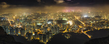 Hong Kong Island Seen From The Hills, Lit Up At Night.