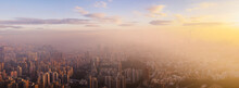 Hong Kong At Sunrise With Mist.