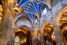 Interior Of A Church With Blue Painted Vaulted Ceiling