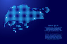 Singapore Map Silhouette From Blue Mosaic Structure Squares And Glowing Stars. Vector Illustration.