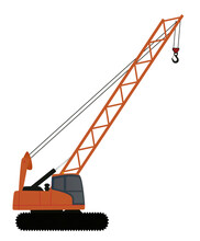 Crane Excavator For Loading. Vector