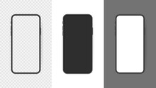 Set Realistic Smartphone Blank Screen, Phone Mockup Isolated On Transparent Background. Template For Infographics Or Presentation UI Design Interface