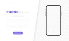 Smartphone Blank Screen, Phone Mockup. Template For Infographics, Presentation Or Mobile App. UI Interface Design. Modern Vector Illustration