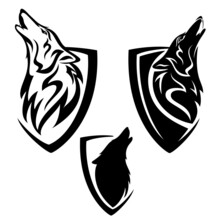 Howling Wolf Head And Simple Heraldic Shield - Guard Insignia Badge Modern Black And White Vector Design Set