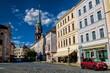 canvas print picture - löbau, deutschland - altstadt mit turm der nikolaikirche