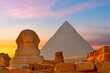 Great Sphynx of Giza and Pyramid of Cheops at sunset, Egypt