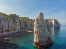 Aerial View Of Etretat Peak And Manneporte, Normandy, France.