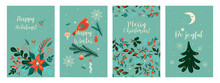 A Set Of Christmas Cards In A Single Color Scheme. Vector Graphics.