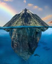 Mountains Floating In The Ocean Underwater