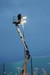 Człowiek w koszu podnośnika na wyskokości pracuje przy oświetleniu