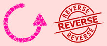 Grunge Reverse Stamp Seal, And Pink Love Heart Mosaic For Rotate Left Arrow. Red Round Stamp Seal Has Reverse Text Inside Circle. Rotate Left Arrow Mosaic Is Created From Pink Romantic Icons.