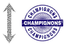 Recursive Composition Vertical Flip And Champignons Round Rubber Stamp. Blue Stamp Includes Champignons Caption Inside Circle And Guilloche Technique.
