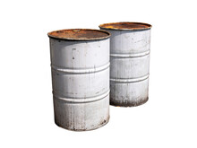 Couple Of Old White Colour Metal Barrels Isolated On White